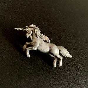 Vintage Dainty JJ Pewter Unicorn Tack Pin Brooch